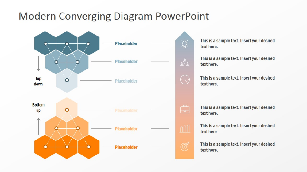 Top Down Bottom Up Converging Diagram For Powerpoint Powerpoint