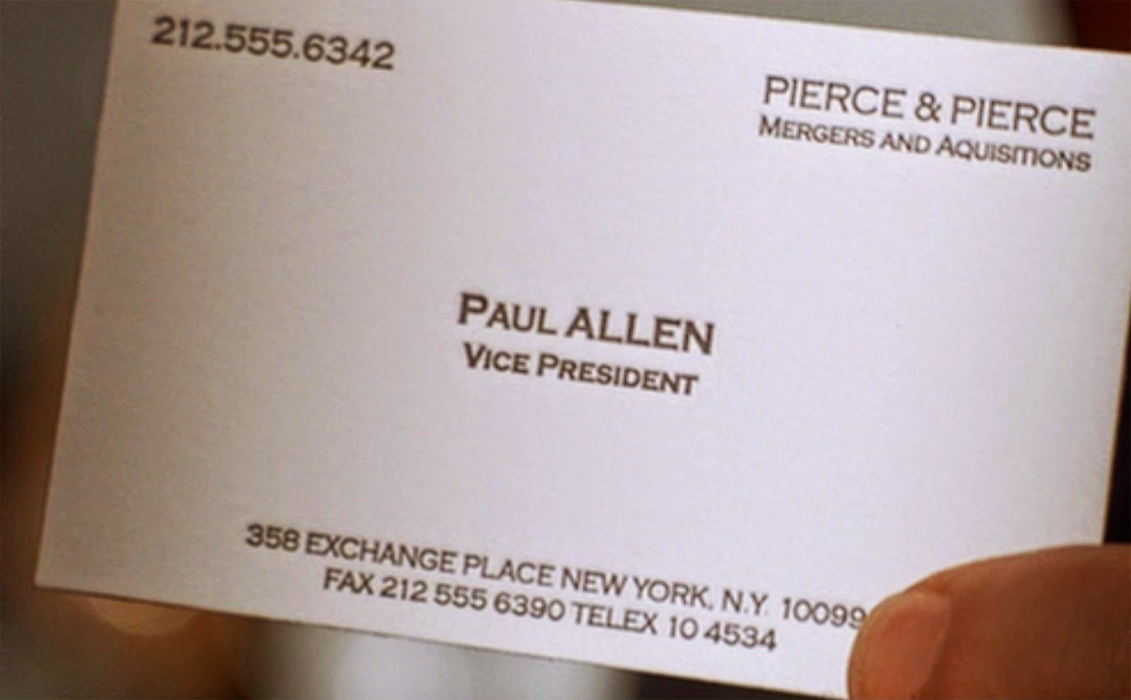 The Amazing American Psycho Was The Typo In Paul Allen S Busines Card With Regard To Paul A Clear Business Cards Business Plan Template Pop Up Card Templates