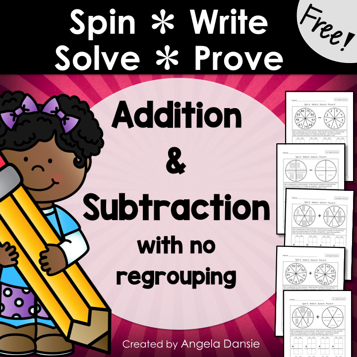 DoubleDigit Addition and Subtraction Spin & Solve (FREE