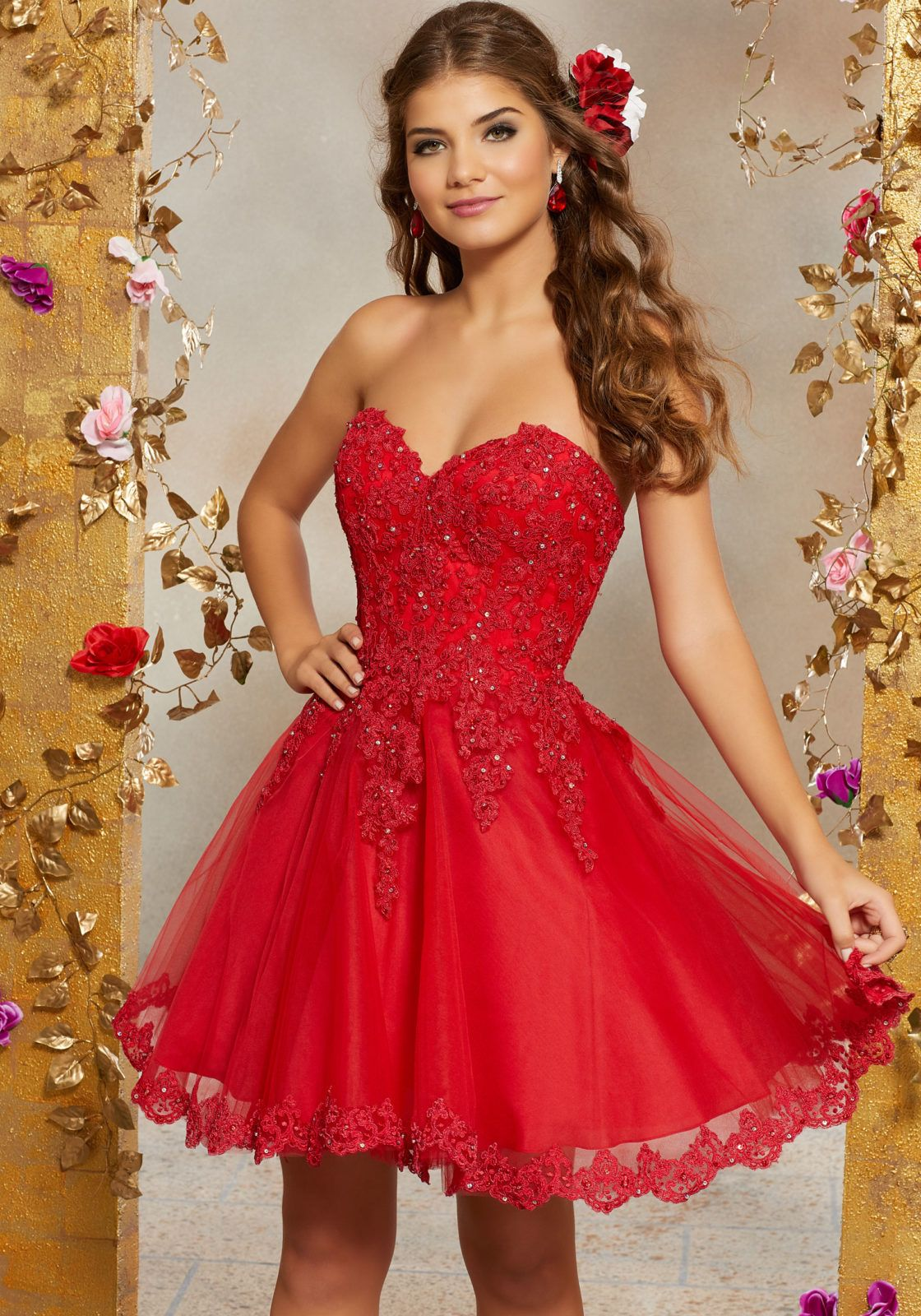 Lace and Tulle Party Dress with Crystal Beading an