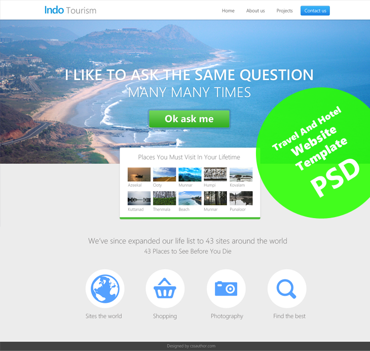 Beautiful Travel and Hotel Website Template PSD for Free Download ...