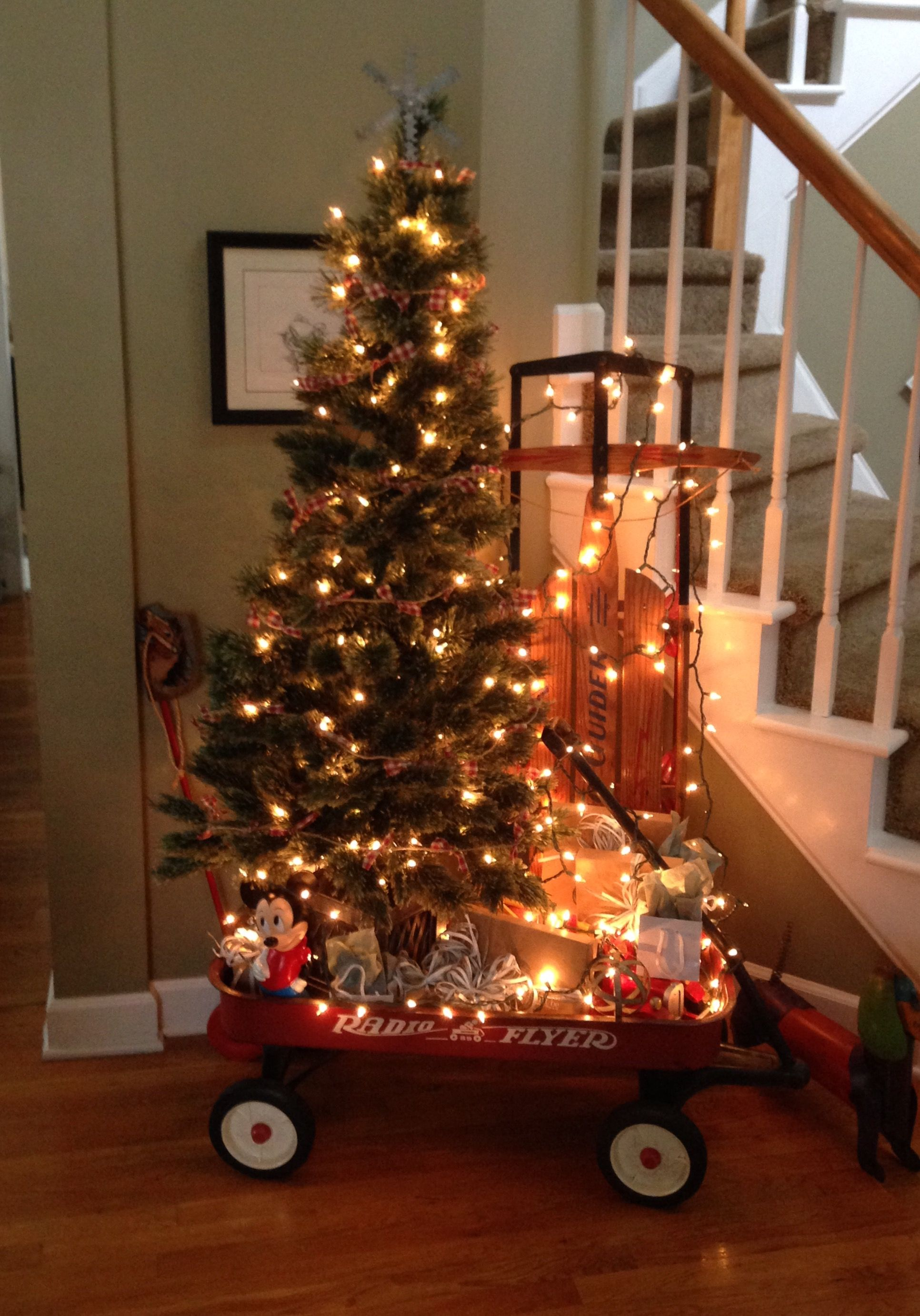 Our Christmas tree in a Radio Flyer wagon with my hubby's