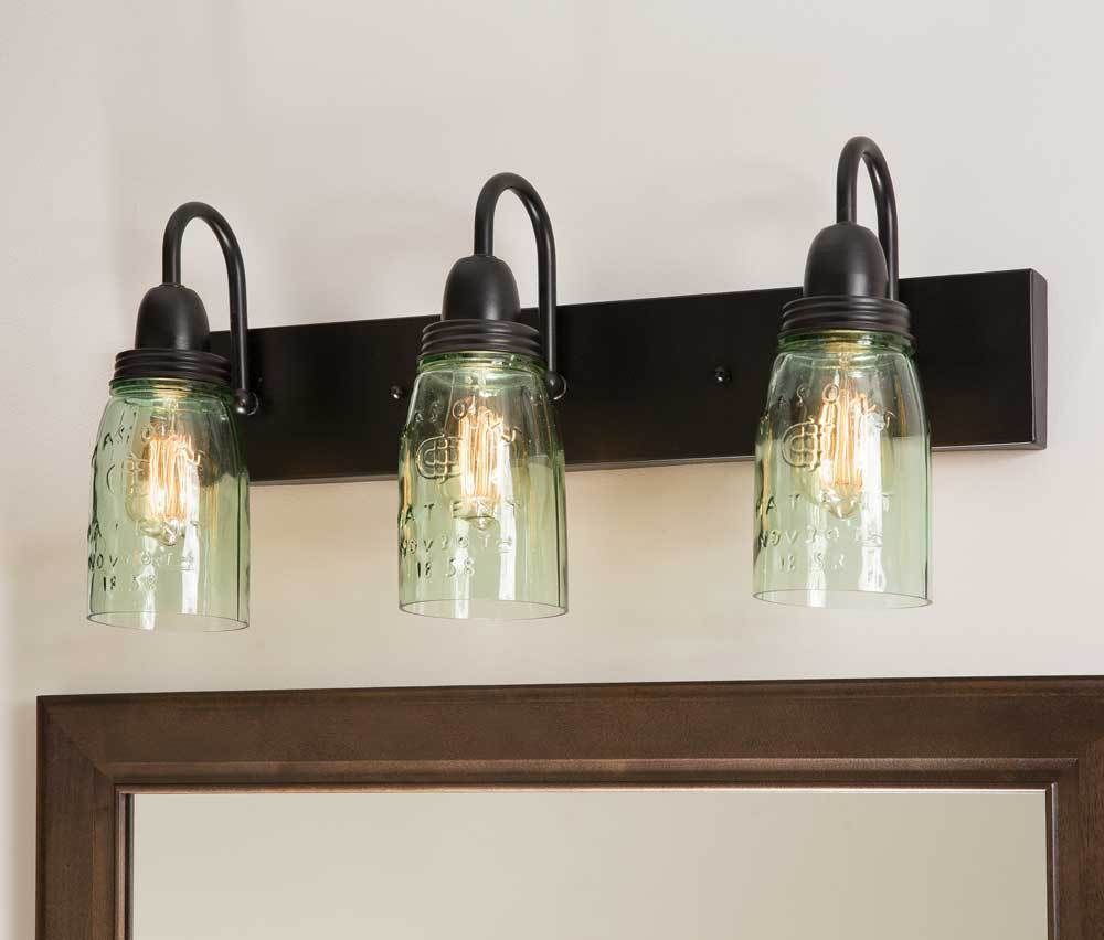 Details about Primitive Country Style Mason Jar Vanity Three Lamp Wall Fixture Lighting images