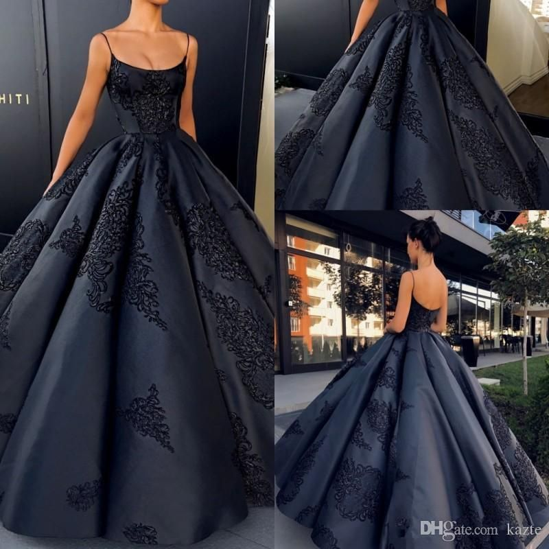 600143a001 2018 Backless Evening Dresses Ball Gown Plus Size Lace Appliques Sexy Puffy  Skirt Prom Dress Long Satin Formal Black Gowns Mermaid Wedding Dress Long  Sleeve ...
