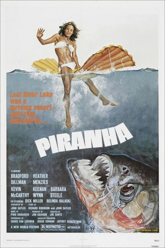 Piranha (1978)- I remember watching a chain of killer animal movies one Summer growing up; killer- bees, spiders, piranhas, bears, rabbits, and even slugs.  All  B, C, or D list films, very funny, especially the slugs.