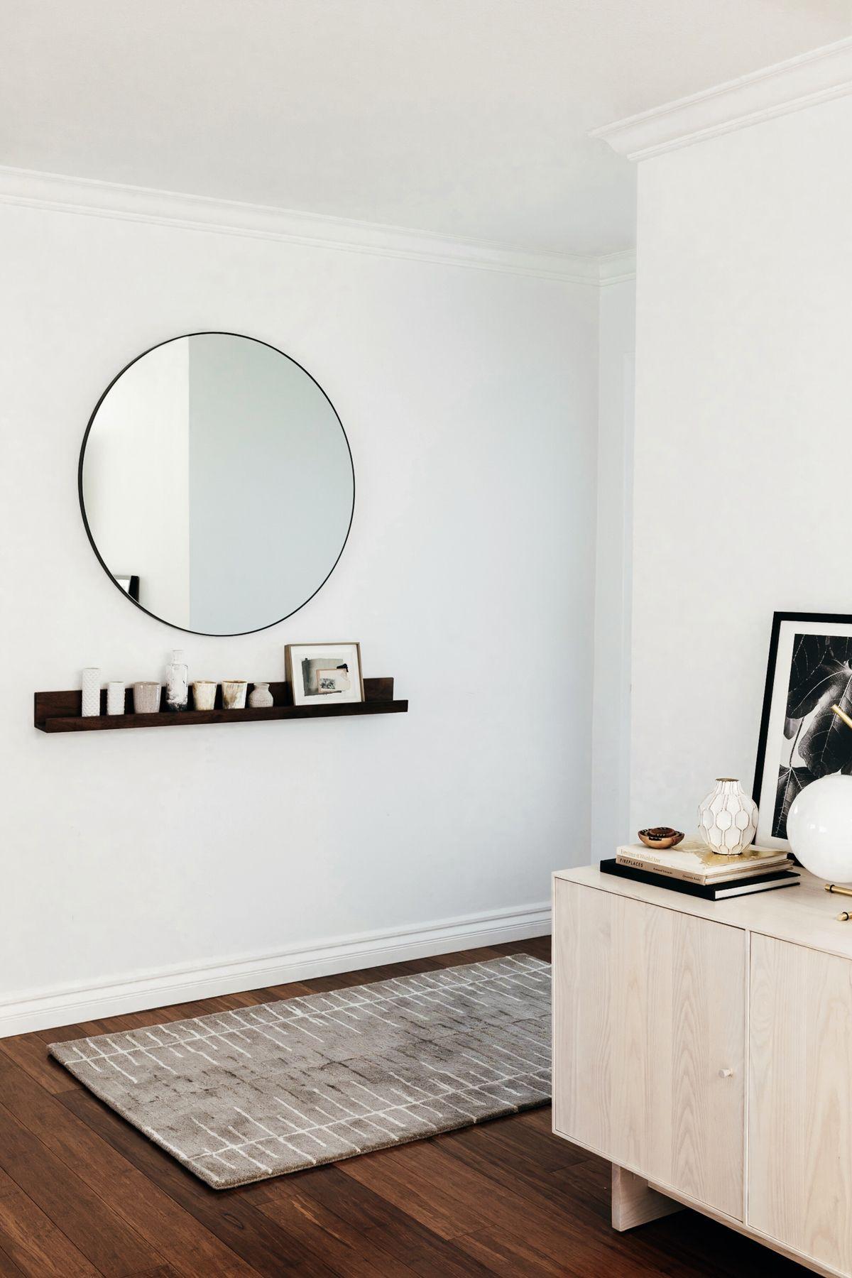 Entry Way Round Mirror Ledge Shelf Neutral Decor Black And White Eatsleepwear Living Remodel Bedroom Small Bedroom Remodel Guest Bedroom Remodel