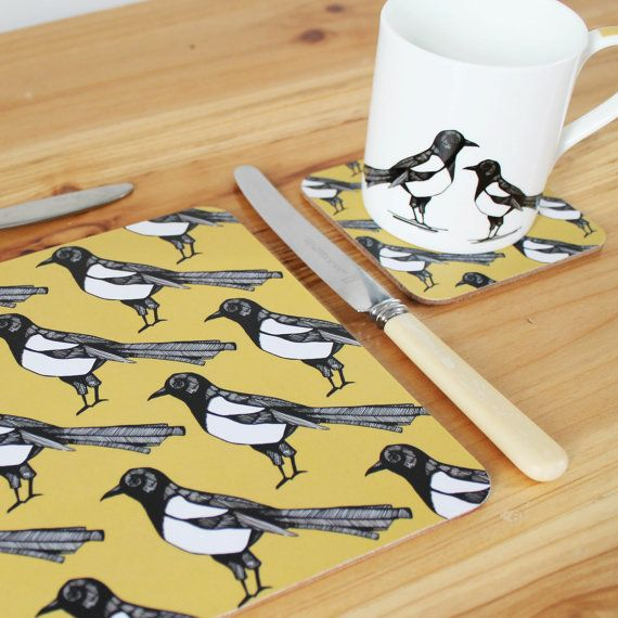 Yellow Magpie Cork Placemat Set Of 4 Etsy Placemats Handmade Cushions Placemat Sets