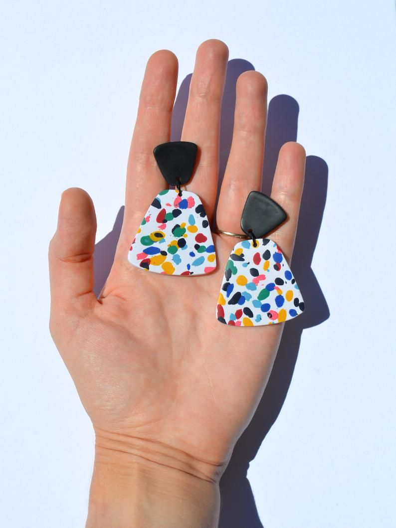 Photo of Multicolored terrazzo earrings White speckled statement   Etsy