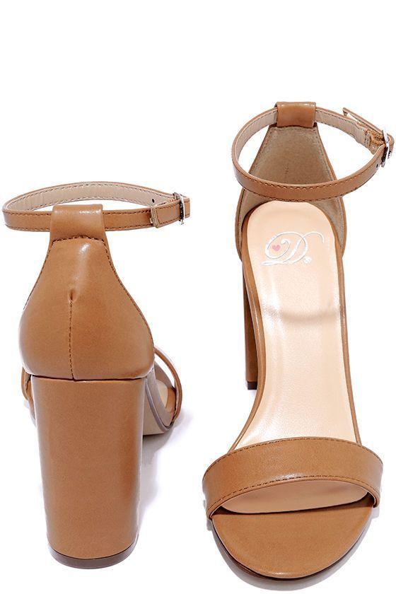 Pretty Tan Heels - Ankle Strap Heels - Dress Sandals - $22.00 #tananklestrapsheels
