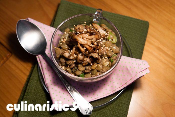 Salada de lentilha e shimeji - Culinarístico