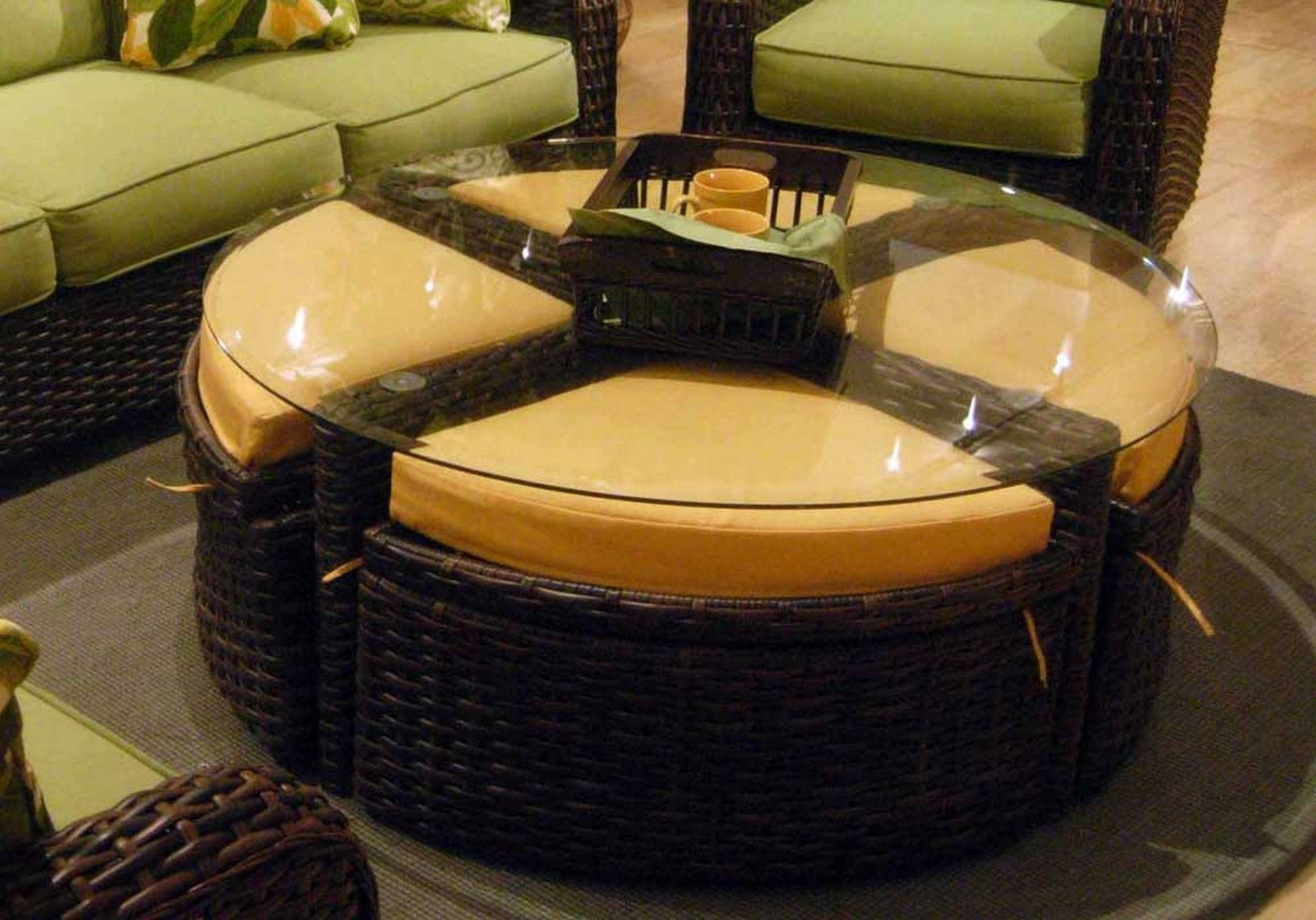 Elegant Leather Ottoman Round Table Coffee Tufted Ottomans With Gl Top