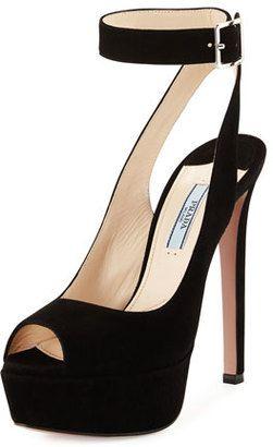 d14cc2a7367 Prada Suede Platform Ankle-Strap Sandal Nero  heels  peeptoe