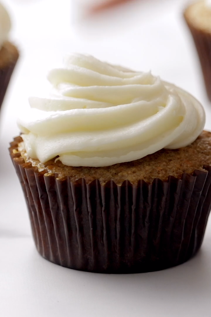 These are the best carrot cake cupcakes I've ever had! With a cream cheese frosting, of course. Perfect for dessert or brunch! |