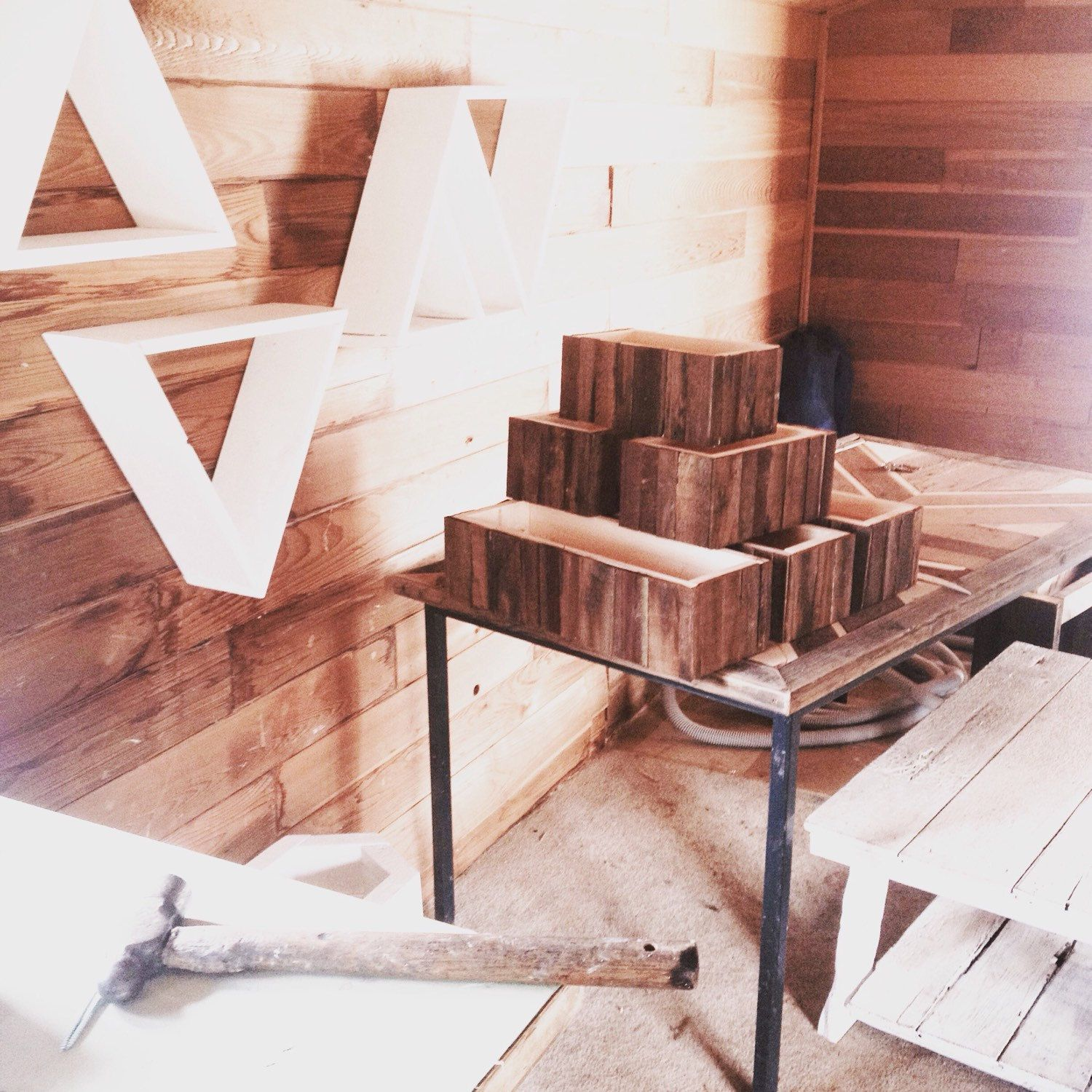 This Tower Of Barn Wood Planters Is Headed For Nyc Hope You Enjoy S Wood Planters Barn Wood Reclaimed Barn Wood