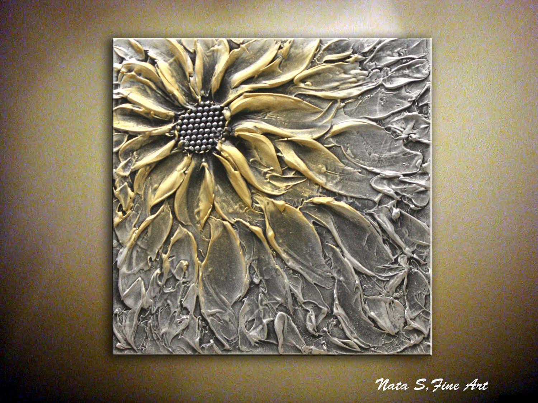 Abstract metallic flower painting original artwork palette for Metallic paint artwork