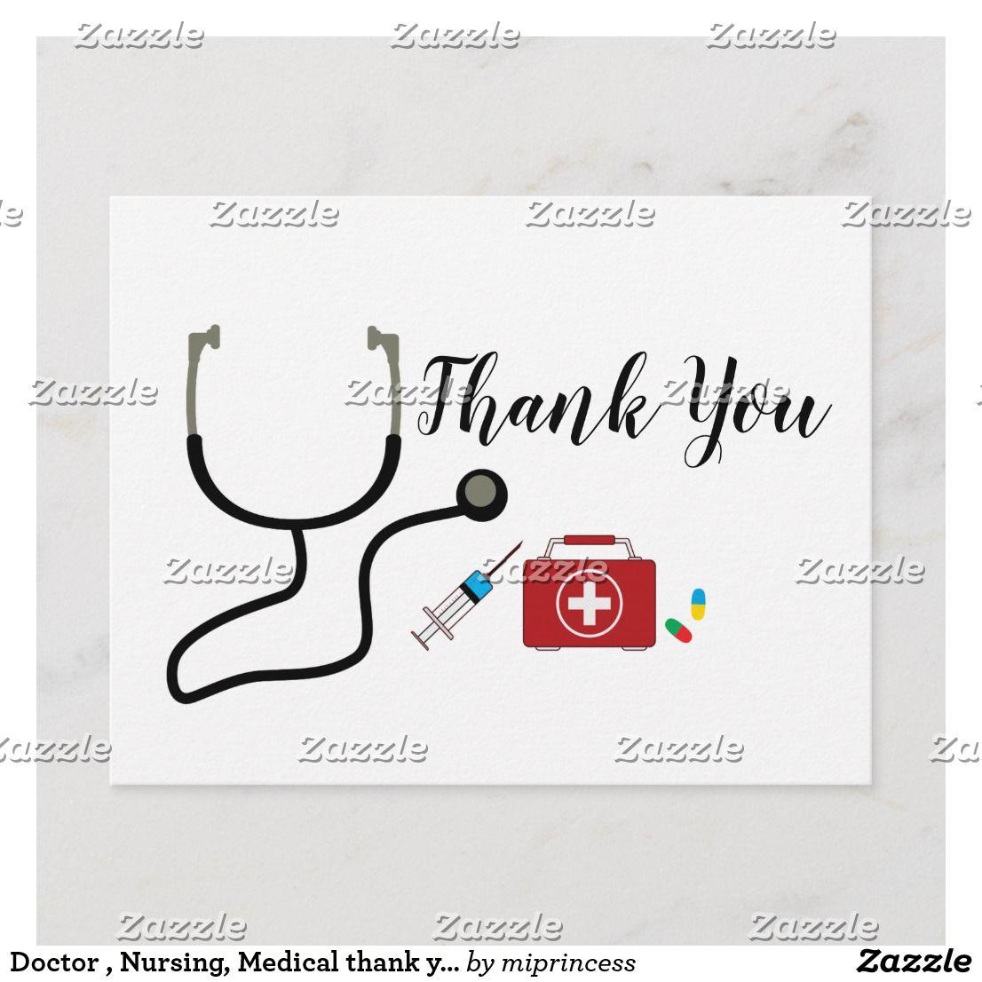 Doctor nursing medical thank you card