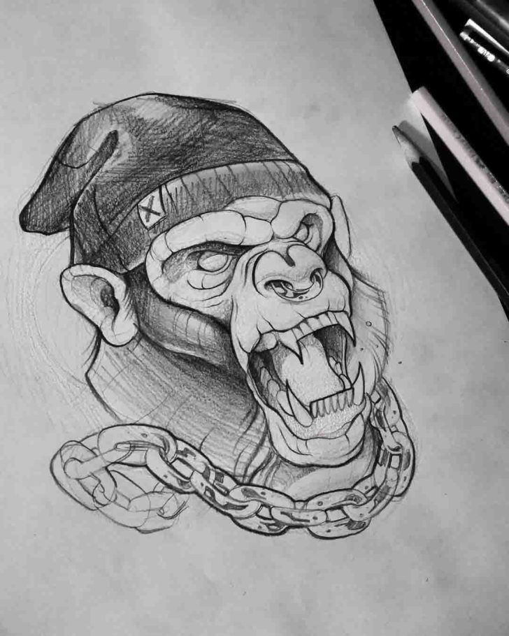 Chained Monkey Tattoo Design Raros