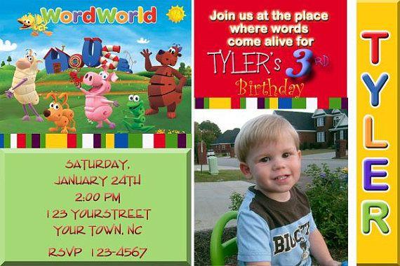 Word World Birthday Party You Print Birthday Invitation