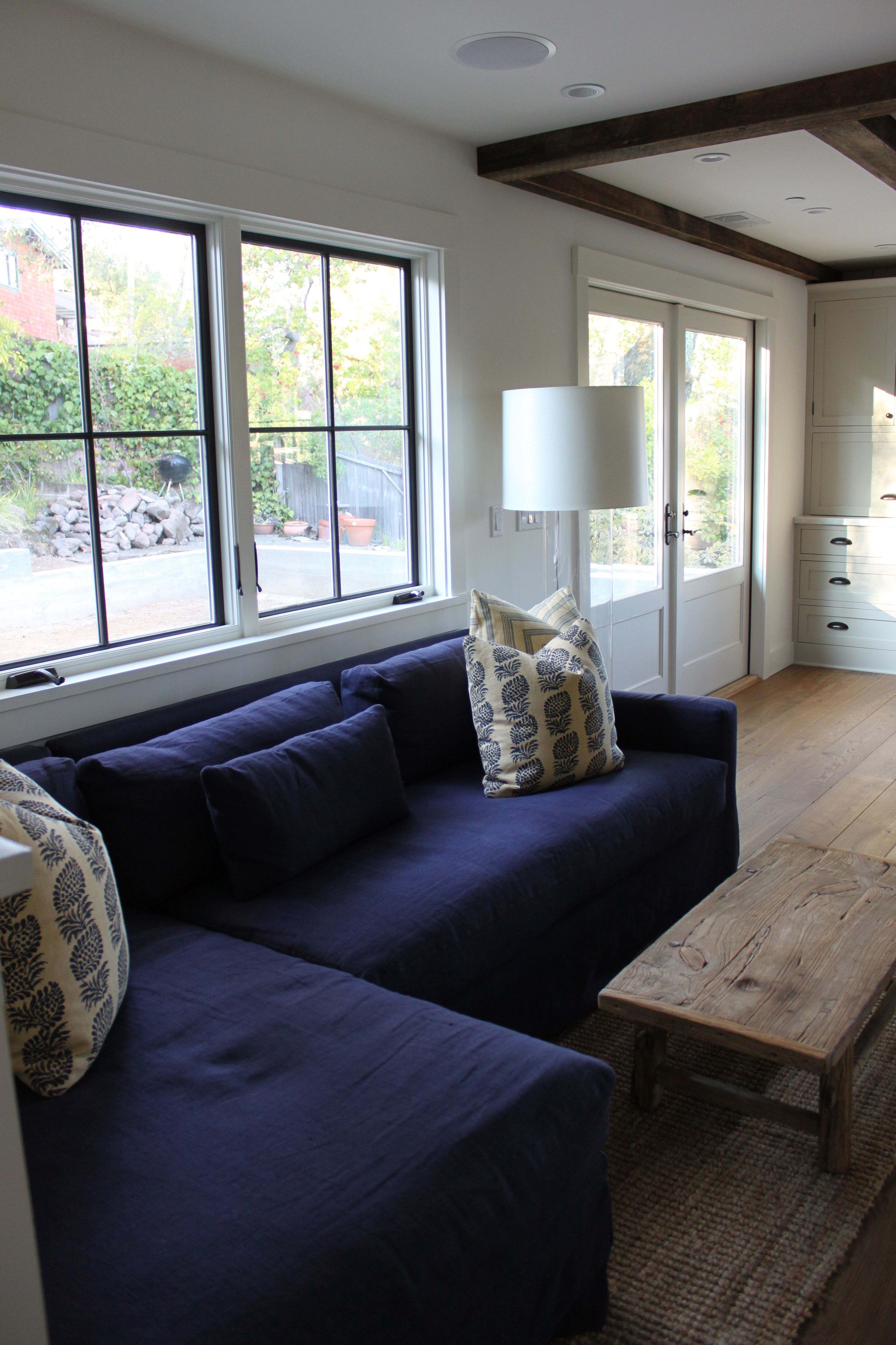 Window trim and double doors. Faux ceiling beams, Home
