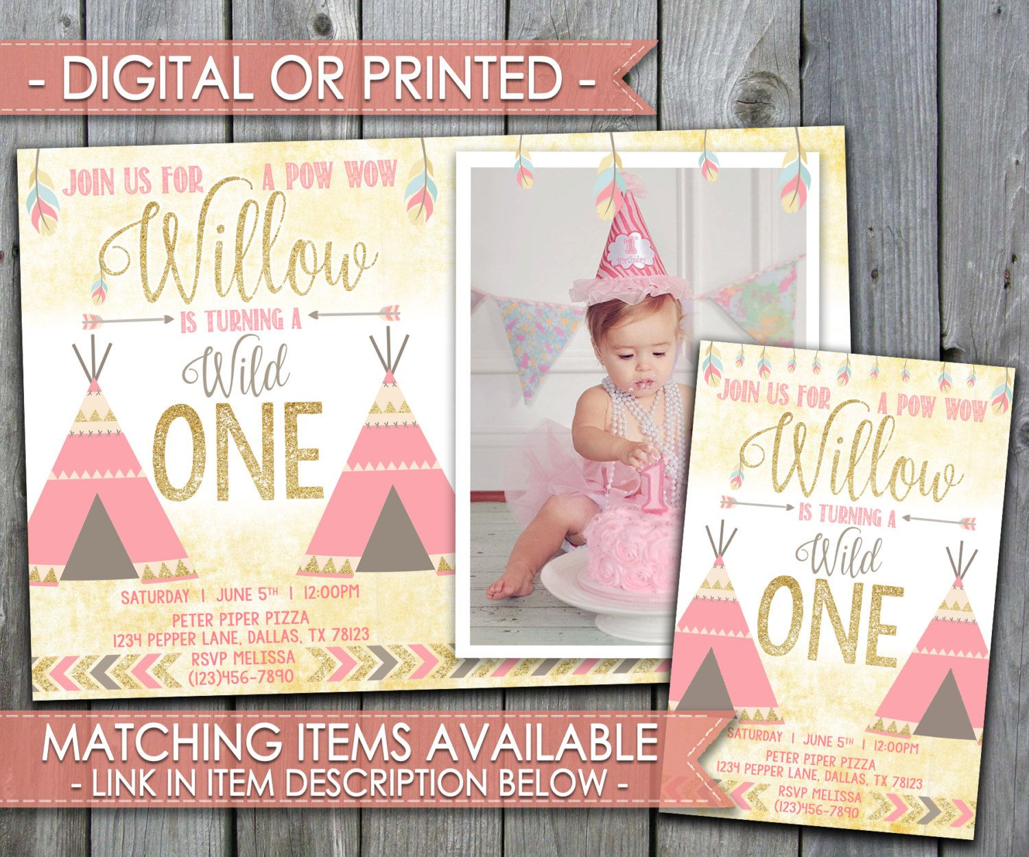 Teepee Invitation Pow Pow Invitation Tribal Invitation Teepee Birthday Invitation Gold Glitte Tribal Invitation First Birthday Posters Birthday Invitations