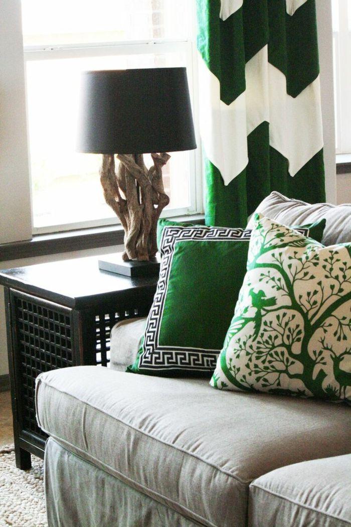 wohnzimmer einrichten grüne akzente dekokissen gardinenmuster - gardinen muster für wohnzimmer