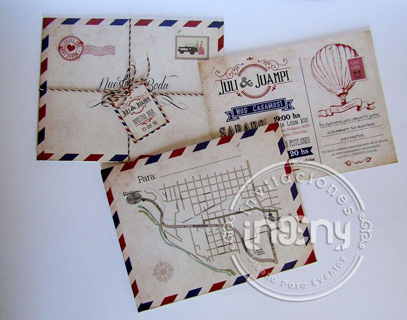 de boda original vintage invitacin carta posta casamiento