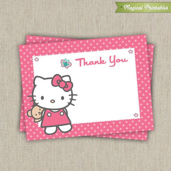 Hello Kitty Printable Birthday Thank You Card All About Parties
