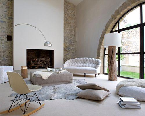 Idées déco pour un grand salon contemporain ouvert avec une cheminée ...