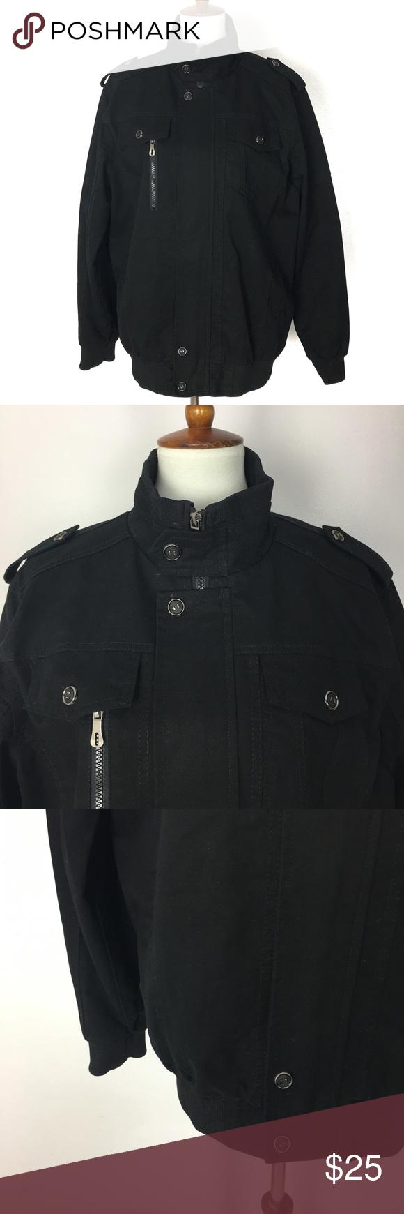 Moogen Men's Black Mock Neck Bomber Jacket (With images