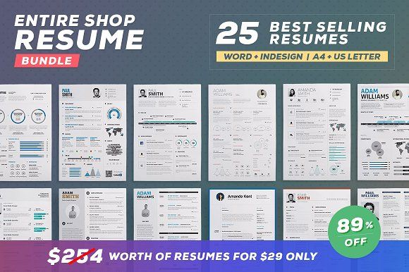 Entire Shop - 25 in 1 Resume Bundle by TheResumeCreator on