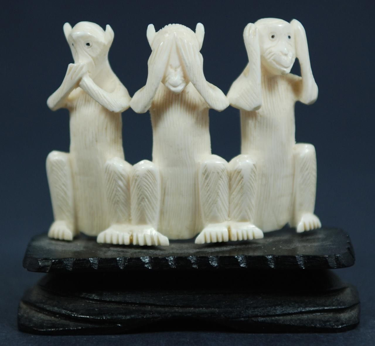 Three wise monkeys wooden ornaments - Chinese Ivory Three Wise Monkeys Figures Sanzaru Chinese Hand Carved Three Wise Monkeys Group