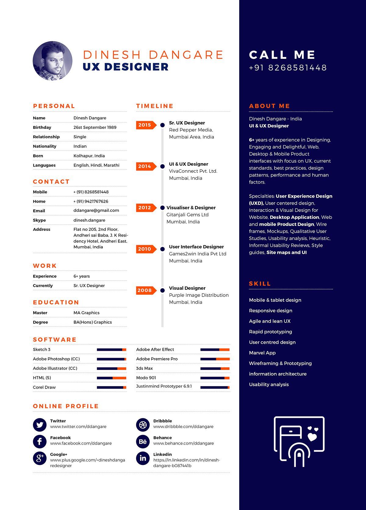 Ux Designer Resume Cv Dinesh Dangare Curriculum Vitae Cv Design Creative Portfolio Template Design Resume Design