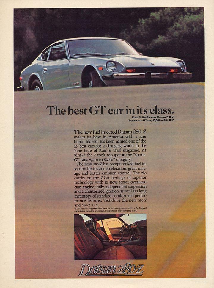 280-ZZZAP 1977 DATSUN 280-Z Gold Sports Car VINTAGE AD