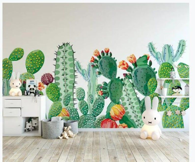 Tropical Leaves Cactus Cacti Butterflies Wall Decals DIY Stickers Nursery Decor