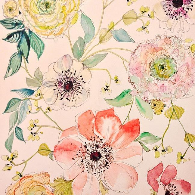 A Peek Into The Studio Watercolor Floral Patterns Watercolor