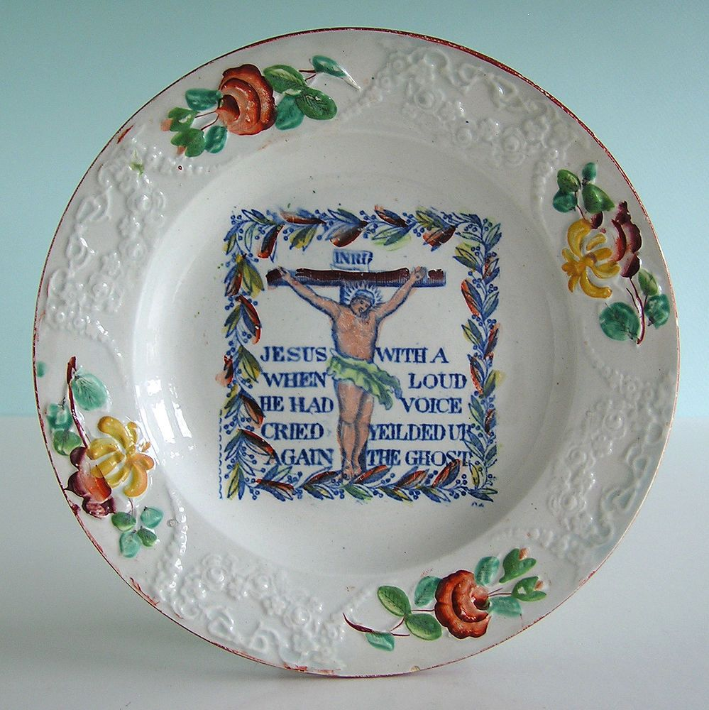 Staffordshire Pearlware Christ On Cross Embossed Enameled Child S Plate C1820 Plates Staffordshire Christ