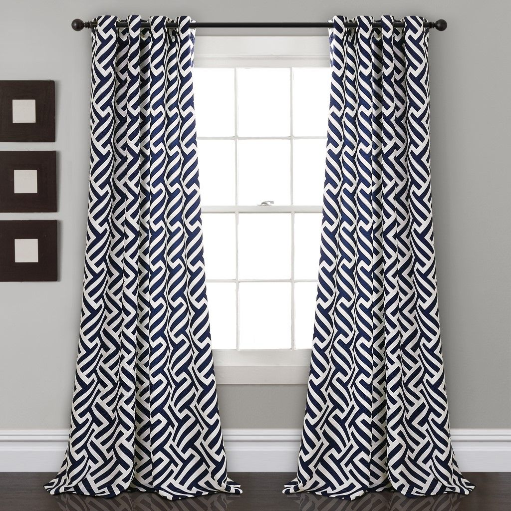 Giovana Room Darkening Window Curtain Panels Navy 52x84 Set Half