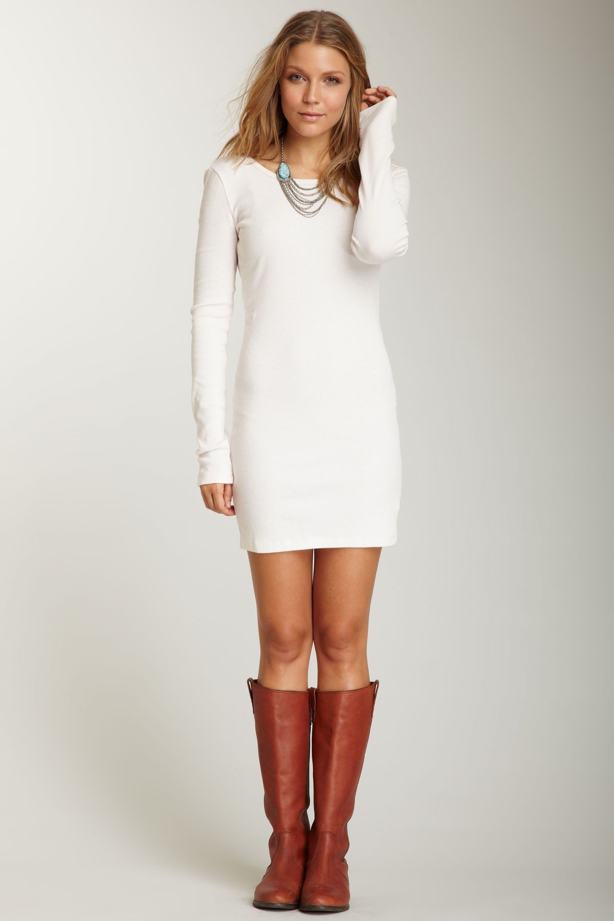 White dress and boots for winter. LOVE!!!!