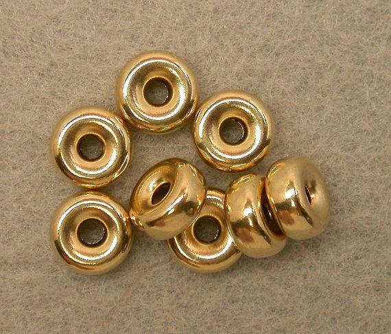 Vintage 14k GOLD FILLED 6.5 x3mm Seamless rondelle by EurekaEureka