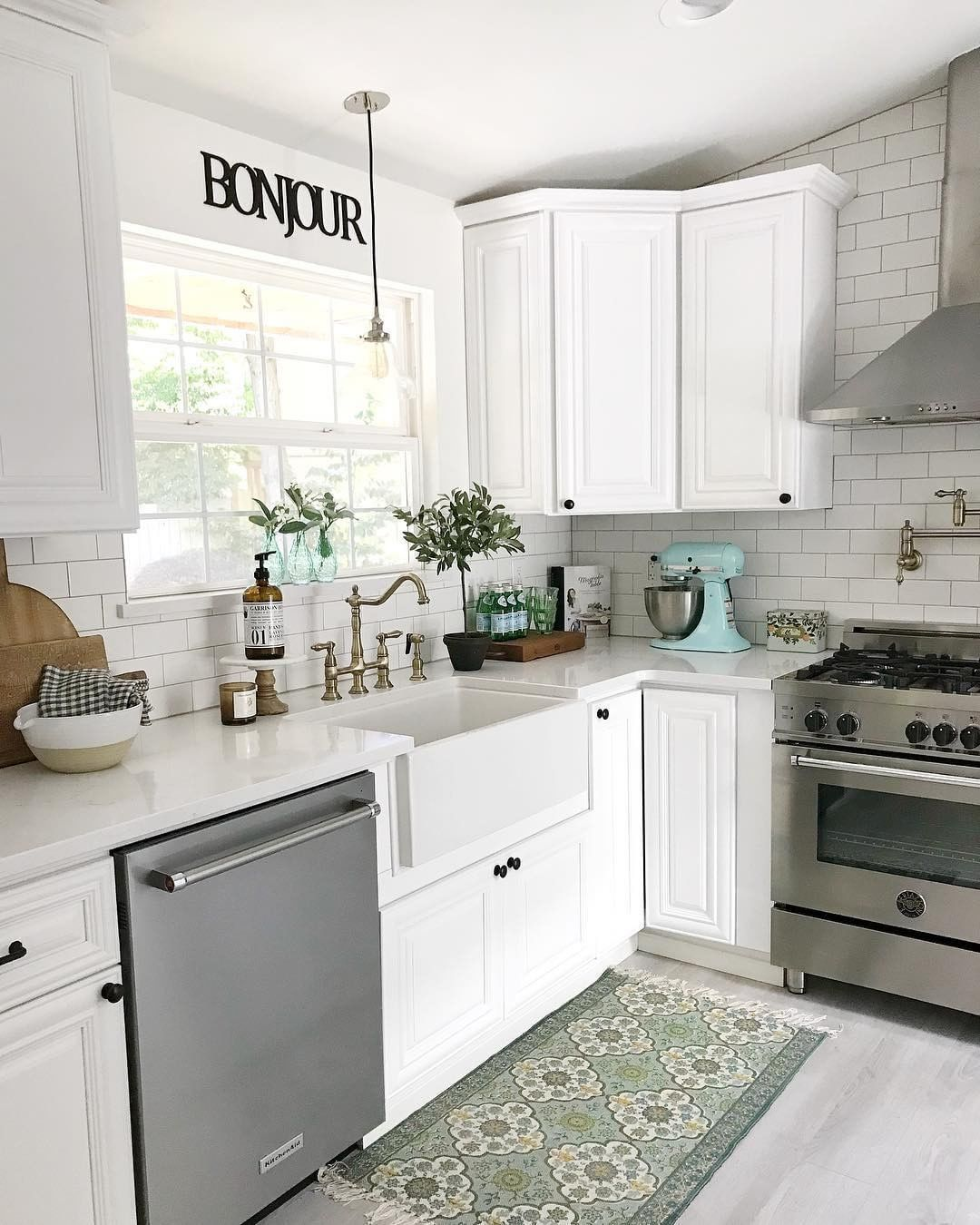 French Farmhouse Kitchen Decor With Subway Tile Walls And Backsplash, Farmhouse Sink, White