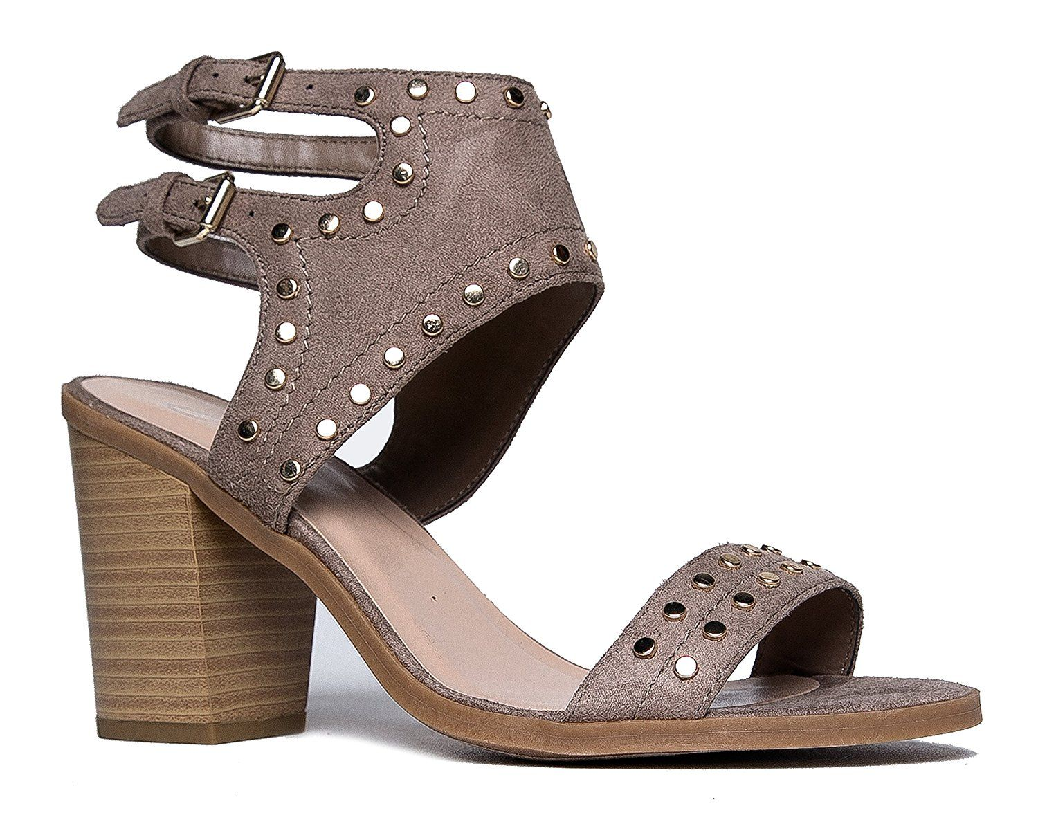 30cacbfffbd J. Adams Studded Suede Cut Out Sandal - High Heel Buckle Shoe - Edgy Sexy  Wood Block Heel - linq by.Women s Shoes