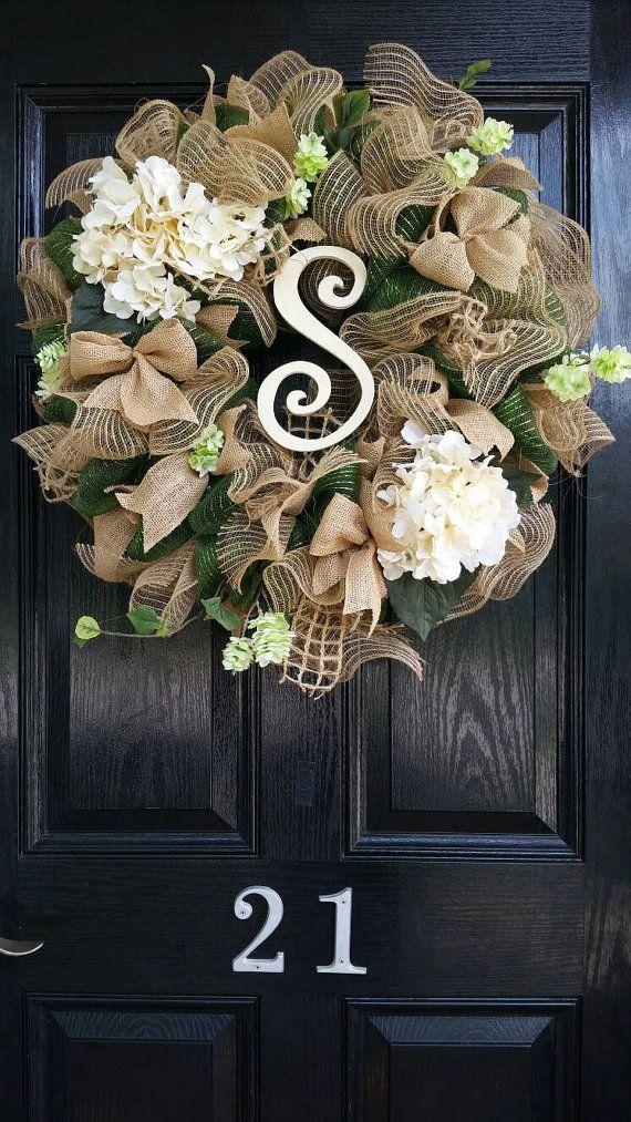 Photo of Spring Wreath Summer Wreath Mother's Day Gift Wreath All Year Round Wreath Burlap Wreath Wedding Wreath Personalized Initial Monogram Hydrangea