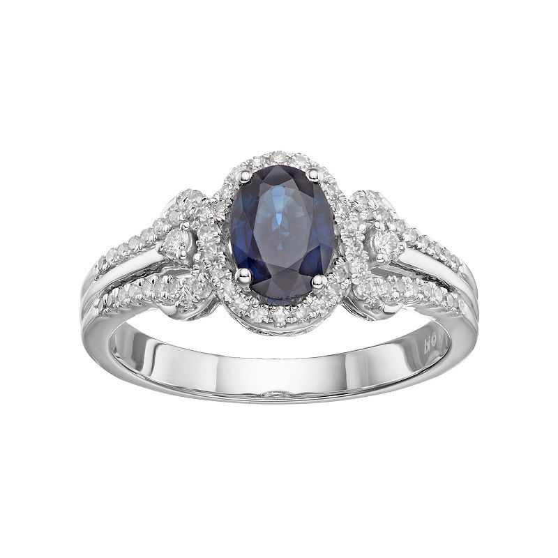 10k White Gold Sapphire 1 4 Carat T W Diamond Oval Halo Ring Oval Halo Ring Blue Sapphire Rings Oval Diamond