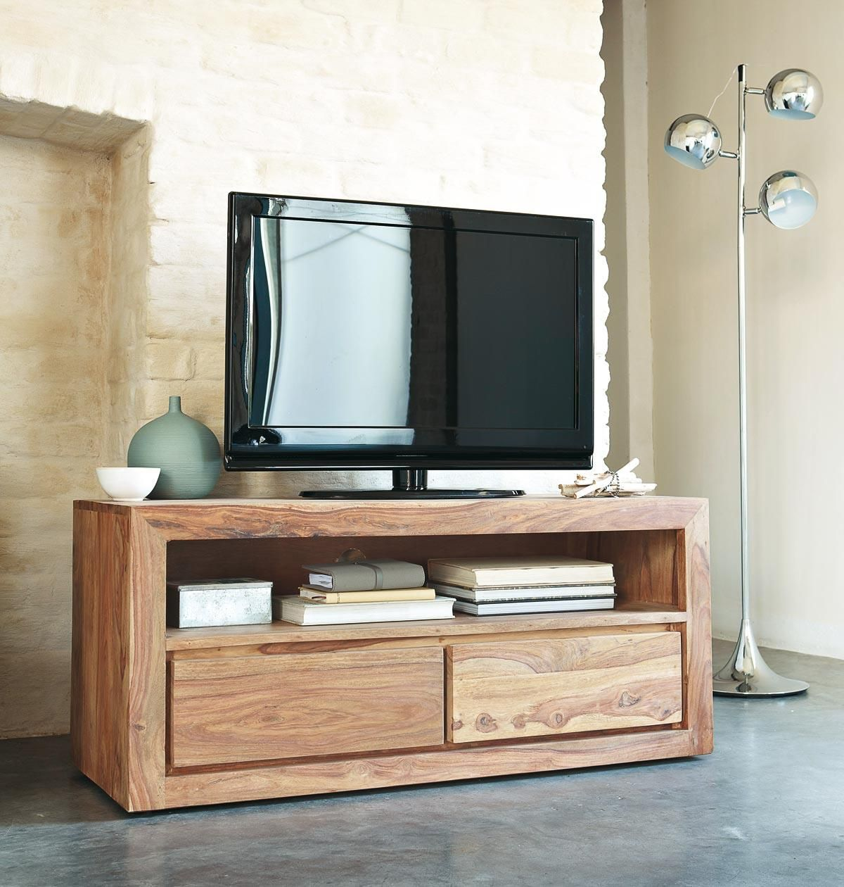 meuble tv 2 tiroirs en sheesham massif meuble tv tv et meuble moderne. Black Bedroom Furniture Sets. Home Design Ideas