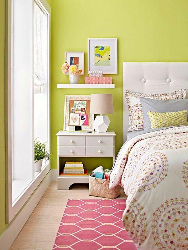 Passende Zimmerfarben Schlafzimmer Farbideen Grüne Wände Rosafarbiger  Teppich