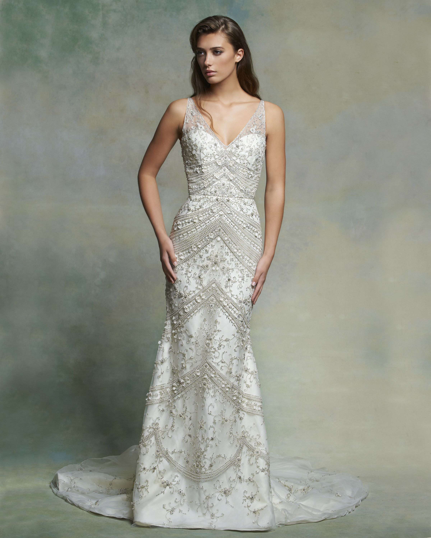 Modern dress des moines - Enaura Bridal Es557 Ivory Mermaid Gown V Neck Low Back
