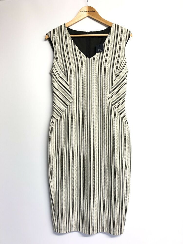 c67a3683b M&S Collection Black White Illusion Sheath Dress UK Size 12 Jersey Smart  Career #MarksandSpencer #PencilDress #AnyOccasion