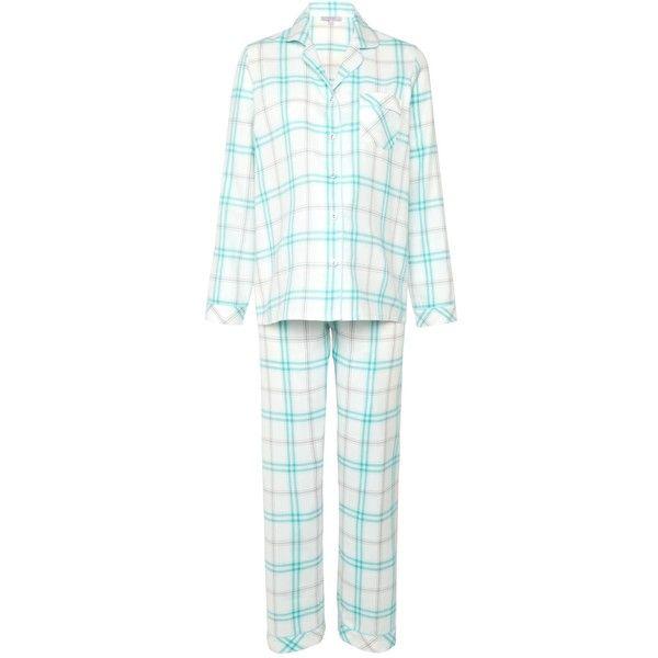 John Lewis Check Pyjama Set, Aqua (435 NOK) ❤ liked on Polyvore featuring intimates, sleepwear, pajamas, cotton sleepwear, cotton pjs, cotton pj pants, long sleeve pajamas and long sleeve cotton pajamas