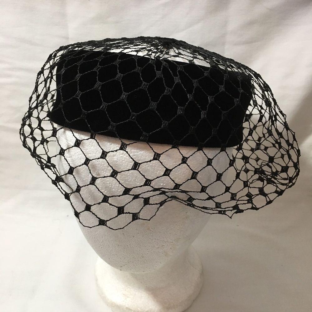 13cc6c12f00 Vintage Velvet Ring Pillbox Hat Net Veil Netting Bow Black Union Made 1950  1960  Unbranded  Pillbox