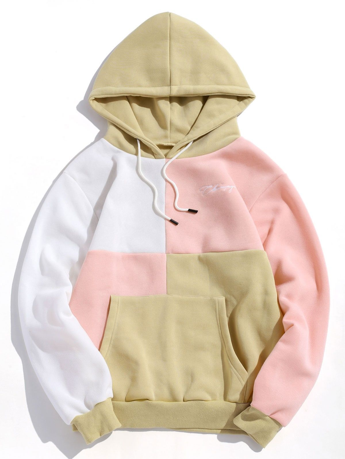 Comfy Womens Athletic Color Splice Cargo Pocket Hooded Zip up Outfit